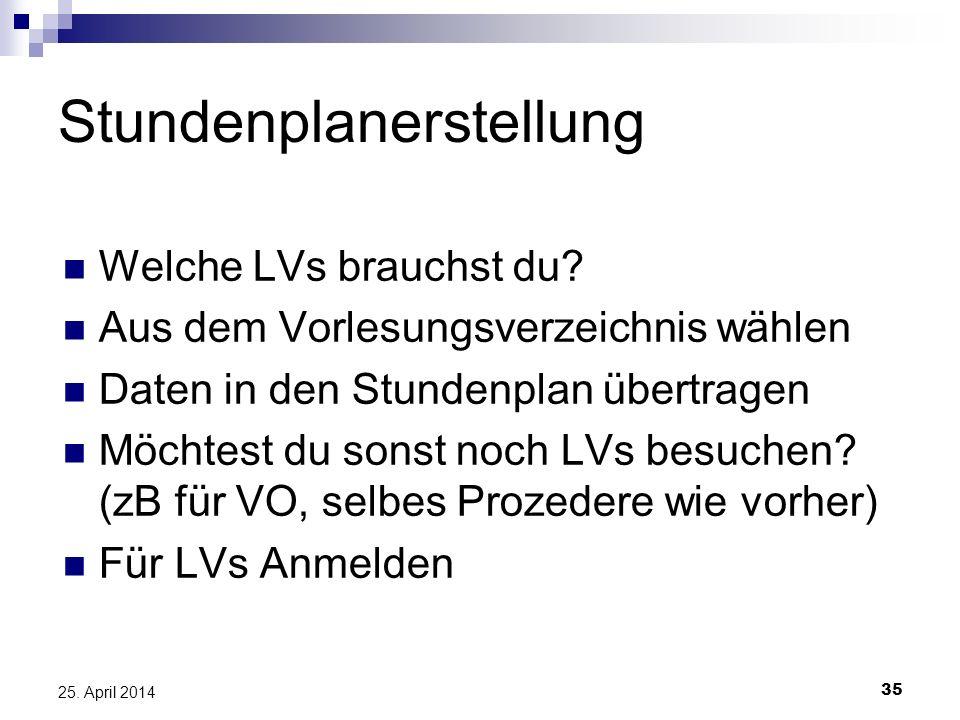 35 25. April 2014 Stundenplanerstellung Welche LVs brauchst du? Aus dem Vorlesungsverzeichnis wählen Daten in den Stundenplan übertragen Möchtest du s