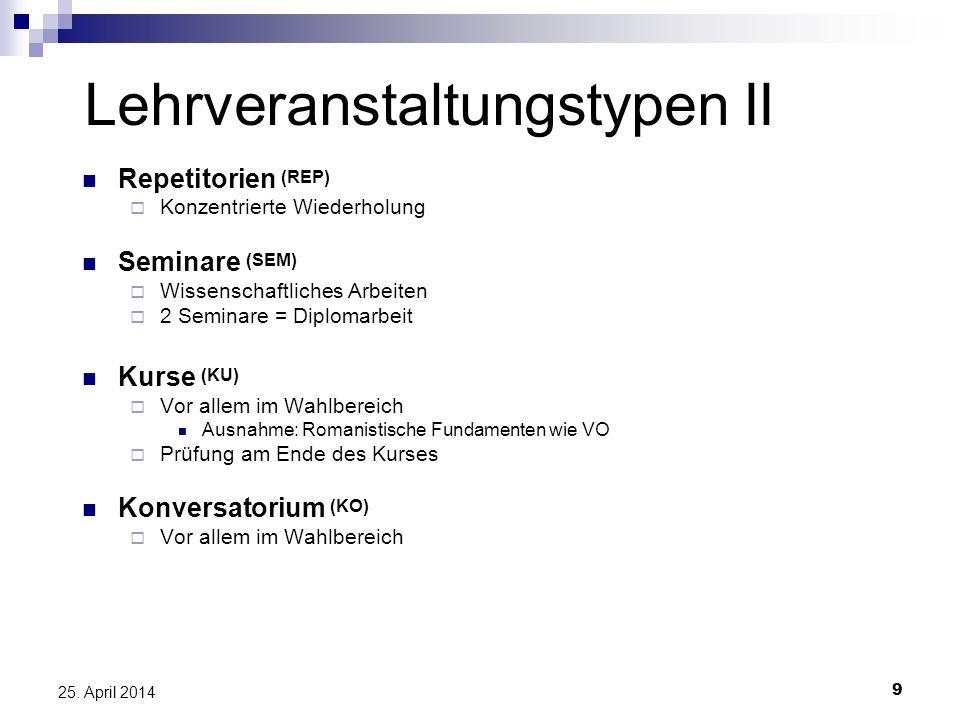 9 25. April 2014 Lehrveranstaltungstypen II Repetitorien (REP) Konzentrierte Wiederholung Seminare (SEM) Wissenschaftliches Arbeiten 2 Seminare = Dipl