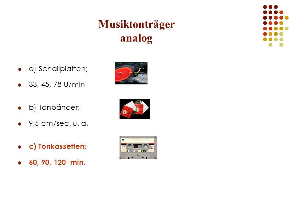 Musiktonträger analog a) Schallplatten; 33, 45, 78 U/min b) Tonbänder; 9,5 cm/sec, u. a. c) Tonkassetten; 60, 90, 120 min.