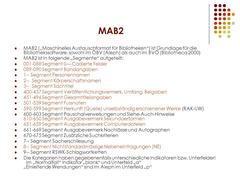 MAB2 MAB2 (Maschinelles Austauschformat für Bibliotheken) ist Grundlage für die Bibliothekssoftware, sowohl im ÖBV (Aleph) als auch im BVÖ (Bibliothec