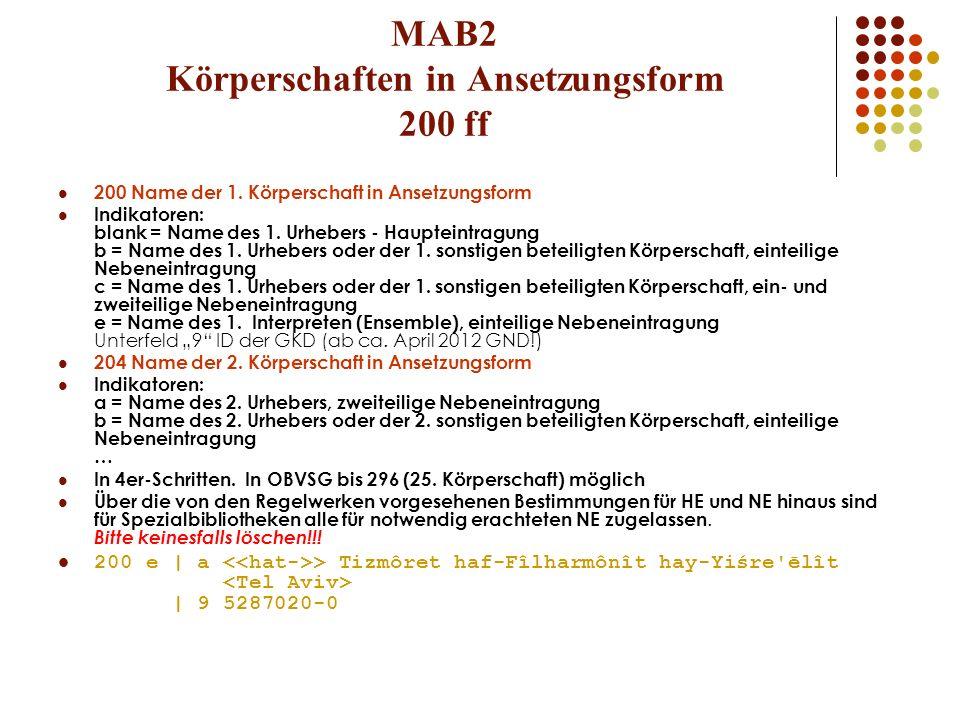 MAB2 Körperschaften in Ansetzungsform 200 ff 200 Name der 1. Körperschaft in Ansetzungsform Indikatoren: blank = Name des 1. Urhebers - Haupteintragun