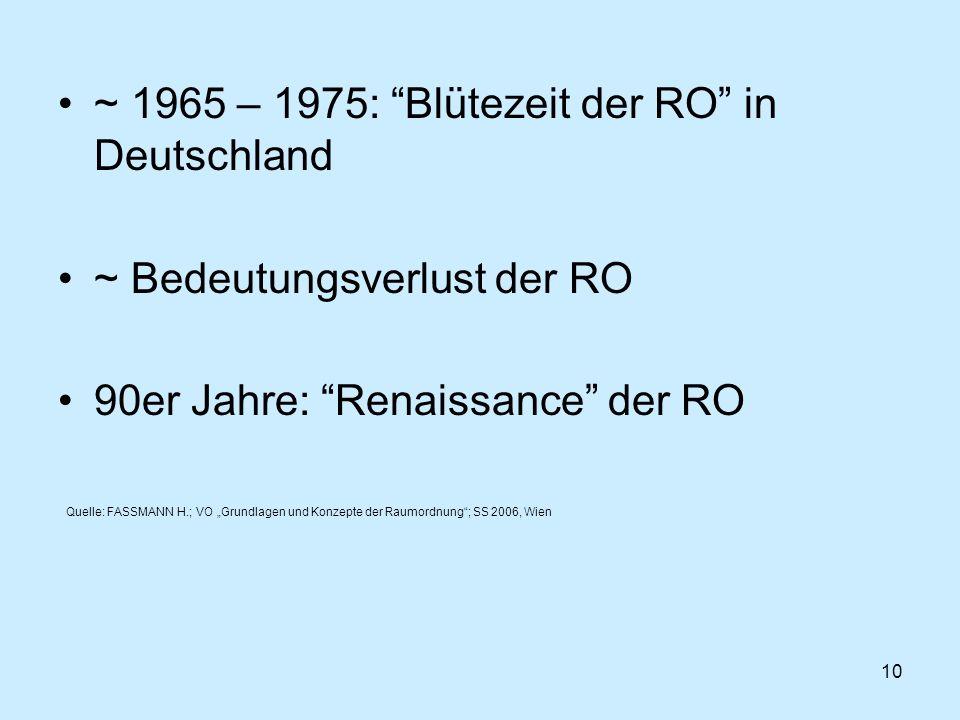 10 ~ 1965 – 1975: Blütezeit der RO in Deutschland ~ Bedeutungsverlust der RO 90er Jahre: Renaissance der RO Quelle: FASSMANN H.; VO Grundlagen und Kon
