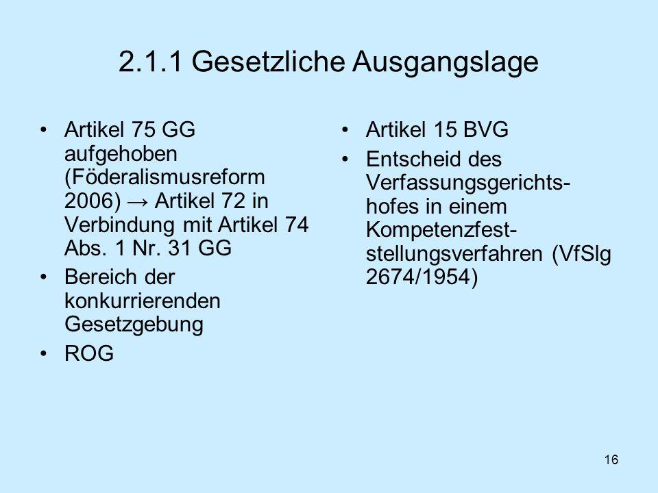 16 2.1.1 Gesetzliche Ausgangslage Artikel 75 GG aufgehoben (Föderalismusreform 2006) Artikel 72 in Verbindung mit Artikel 74 Abs. 1 Nr. 31 GG Bereich
