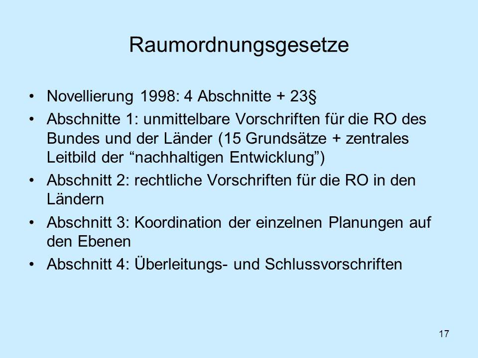 17 Raumordnungsgesetze Novellierung 1998: 4 Abschnitte + 23§ Abschnitte 1: unmittelbare Vorschriften für die RO des Bundes und der Länder (15 Grundsät