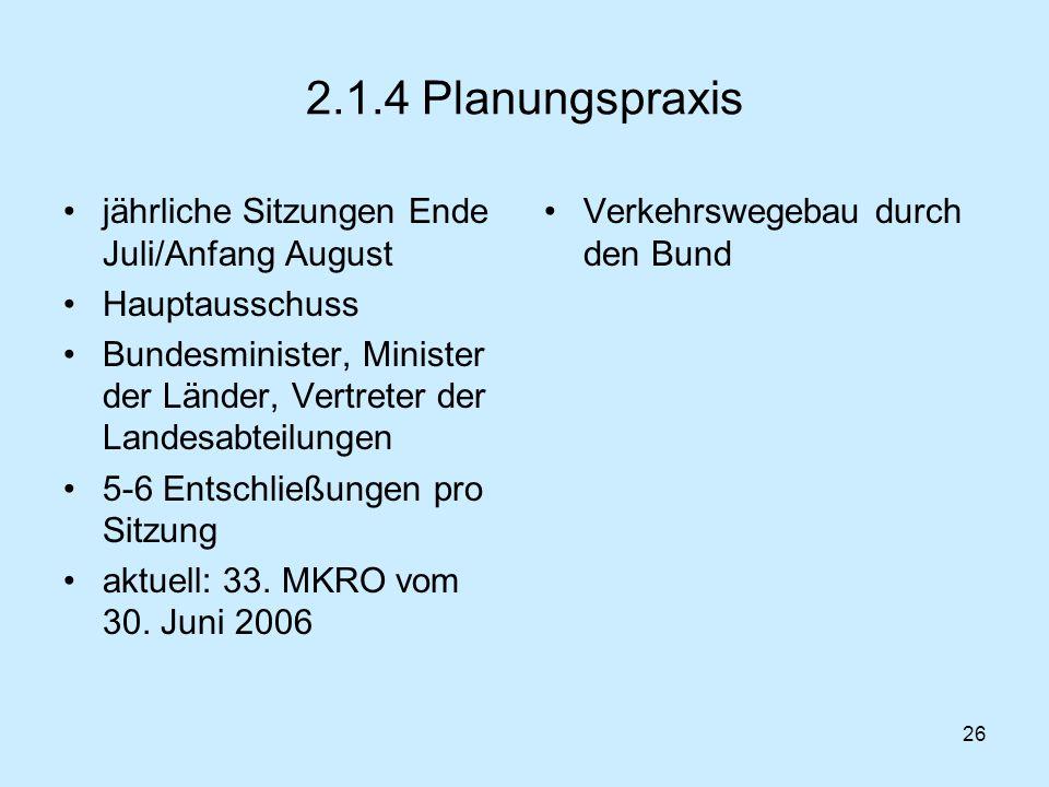 26 2.1.4 Planungspraxis jährliche Sitzungen Ende Juli/Anfang August Hauptausschuss Bundesminister, Minister der Länder, Vertreter der Landesabteilunge