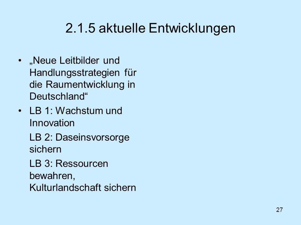 27 2.1.5 aktuelle Entwicklungen Neue Leitbilder und Handlungsstrategien für die Raumentwicklung in Deutschland LB 1: Wachstum und Innovation LB 2: Das