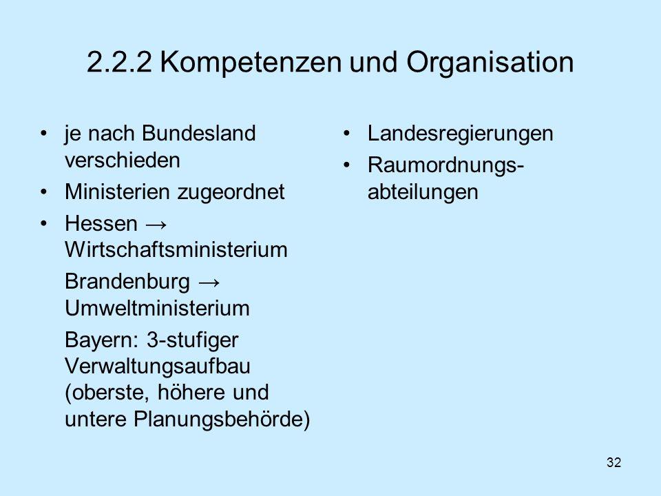 32 2.2.2 Kompetenzen und Organisation je nach Bundesland verschieden Ministerien zugeordnet Hessen Wirtschaftsministerium Brandenburg Umweltministeriu