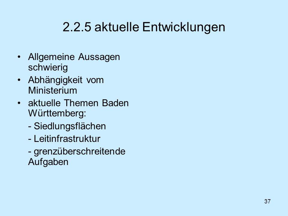 37 2.2.5 aktuelle Entwicklungen Allgemeine Aussagen schwierig Abhängigkeit vom Ministerium aktuelle Themen Baden Württemberg: - Siedlungsflächen - Lei