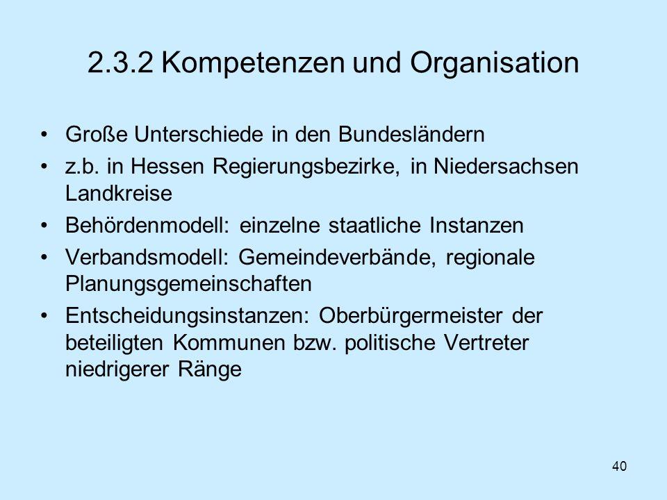 40 2.3.2 Kompetenzen und Organisation Große Unterschiede in den Bundesländern z.b. in Hessen Regierungsbezirke, in Niedersachsen Landkreise Behördenmo