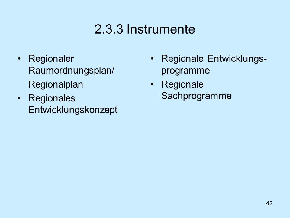 42 2.3.3 Instrumente Regionaler Raumordnungsplan/ Regionalplan Regionales Entwicklungskonzept Regionale Entwicklungs- programme Regionale Sachprogramm