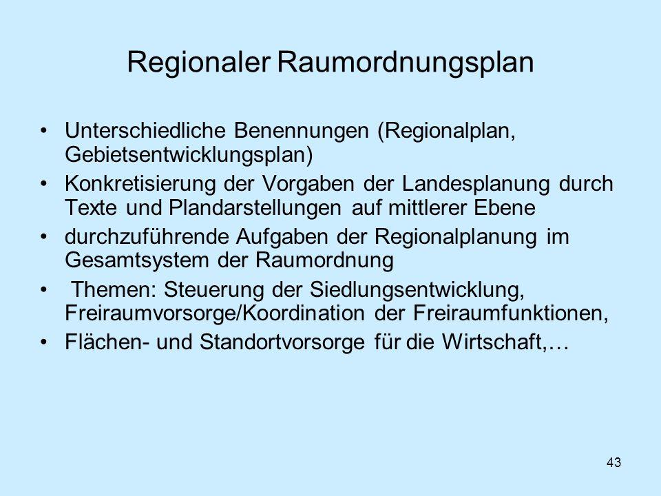 43 Regionaler Raumordnungsplan Unterschiedliche Benennungen (Regionalplan, Gebietsentwicklungsplan) Konkretisierung der Vorgaben der Landesplanung dur