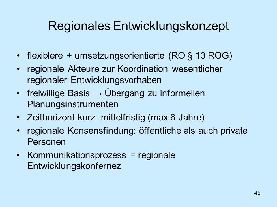 45 Regionales Entwicklungskonzept flexiblere + umsetzungsorientierte (RO § 13 ROG) regionale Akteure zur Koordination wesentlicher regionaler Entwickl