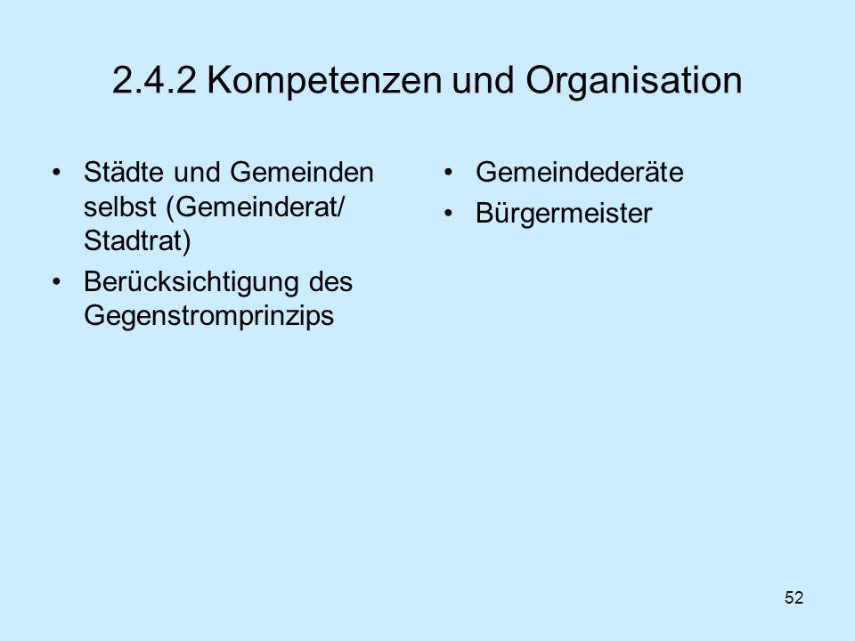 52 2.4.2 Kompetenzen und Organisation Städte und Gemeinden selbst (Gemeinderat/ Stadtrat) Berücksichtigung des Gegenstromprinzips Gemeindederäte Bürge