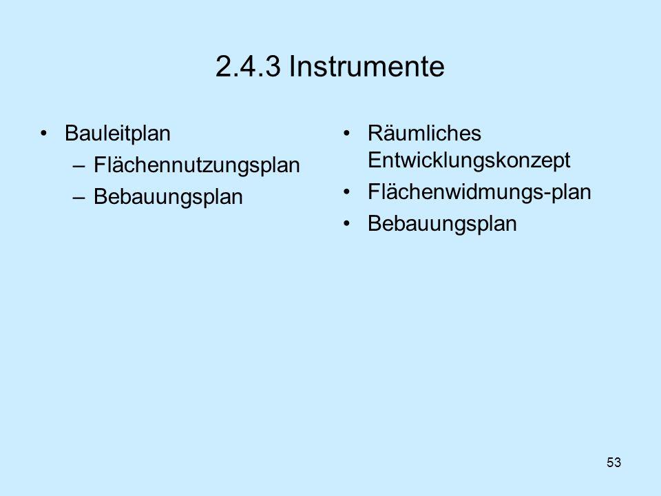 53 2.4.3 Instrumente Bauleitplan –Flächennutzungsplan –Bebauungsplan Räumliches Entwicklungskonzept Flächenwidmungs-plan Bebauungsplan