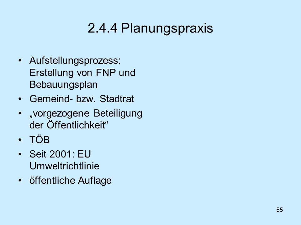 55 2.4.4 Planungspraxis Aufstellungsprozess: Erstellung von FNP und Bebauungsplan Gemeind- bzw. Stadtrat vorgezogene Beteiligung der Öffentlichkeit TÖ