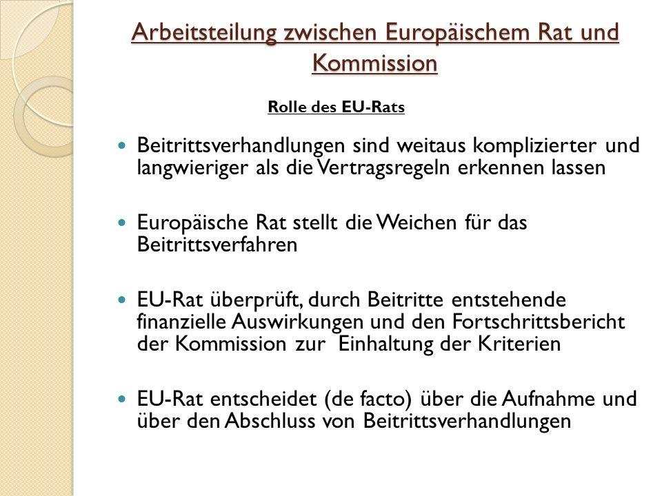 Arbeitsteilung zwischen Europäischem Rat und Kommission Beitrittsverhandlungen sind weitaus komplizierter und langwieriger als die Vertragsregeln erkennen lassen Europäische Rat stellt die Weichen für das Beitrittsverfahren EU-Rat überprüft, durch Beitritte entstehende finanzielle Auswirkungen und den Fortschrittsbericht der Kommission zur Einhaltung der Kriterien EU-Rat entscheidet (de facto) über die Aufnahme und über den Abschluss von Beitrittsverhandlungen Rolle des EU-Rats