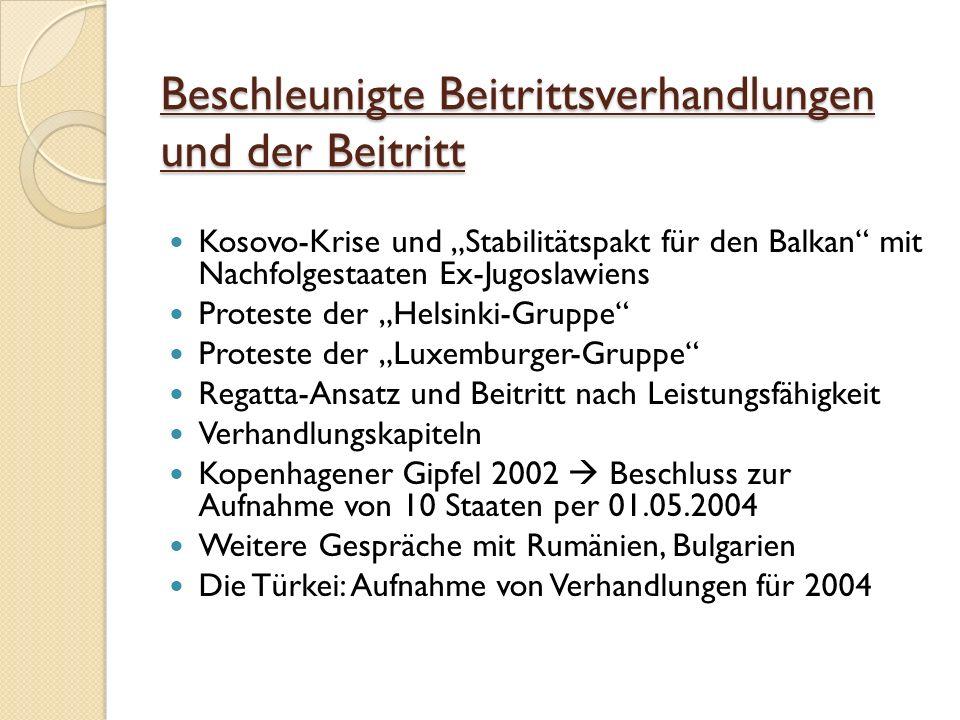 Beschleunigte Beitrittsverhandlungen und der Beitritt Beschleunigte Beitrittsverhandlungen und der Beitritt Kosovo-Krise und Stabilitätspakt für den Balkan mit Nachfolgestaaten Ex-Jugoslawiens Proteste der Helsinki-Gruppe Proteste der Luxemburger-Gruppe Regatta-Ansatz und Beitritt nach Leistungsfähigkeit Verhandlungskapiteln Kopenhagener Gipfel 2002 Beschluss zur Aufnahme von 10 Staaten per 01.05.2004 Weitere Gespräche mit Rumänien, Bulgarien Die Türkei: Aufnahme von Verhandlungen für 2004