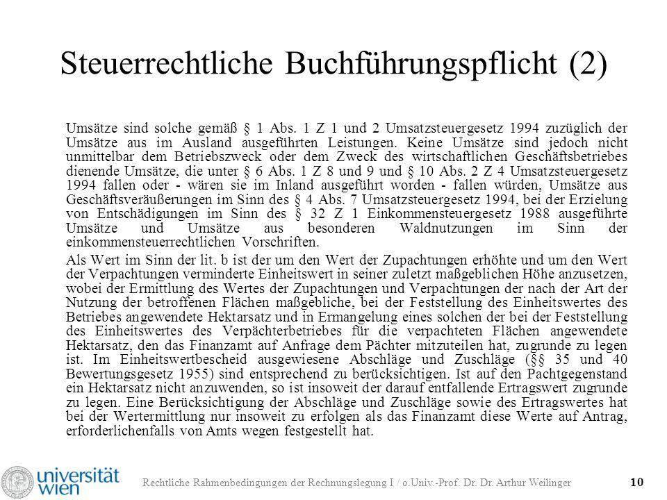 Rechtliche Rahmenbedingungen der Rechnungslegung I / o.Univ.-Prof. Dr. Dr. Arthur Weilinger 10 Steuerrechtliche Buchführungspflicht (2) Umsätze sind s