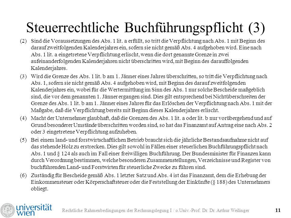 Rechtliche Rahmenbedingungen der Rechnungslegung I / o.Univ.-Prof. Dr. Dr. Arthur Weilinger 11 Steuerrechtliche Buchführungspflicht (3) (2)Sind die Vo