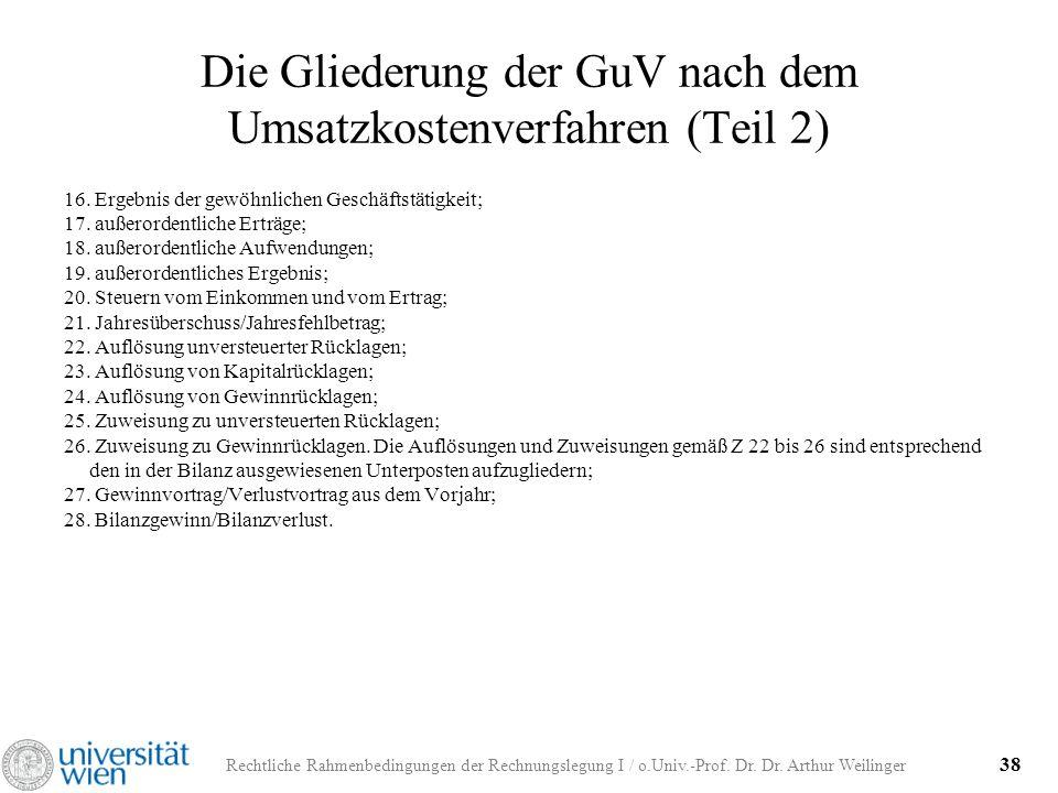 Rechtliche Rahmenbedingungen der Rechnungslegung I / o.Univ.-Prof. Dr. Dr. Arthur Weilinger 38 Die Gliederung der GuV nach dem Umsatzkostenverfahren (