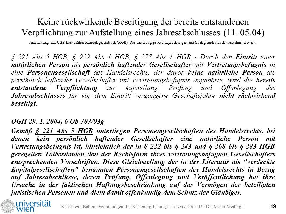 Rechtliche Rahmenbedingungen der Rechnungslegung I / o.Univ.-Prof. Dr. Dr. Arthur Weilinger 48 Keine rückwirkende Beseitigung der bereits entstandenen