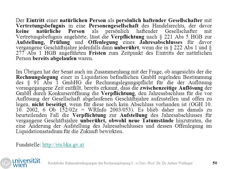 Rechtliche Rahmenbedingungen der Rechnungslegung I / o.Univ.-Prof. Dr. Dr. Arthur Weilinger 50 Der Eintritt einer natürlichen Person als persönlich ha