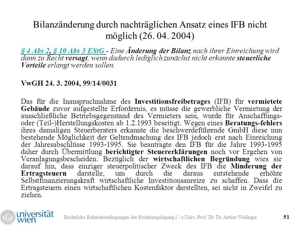 Rechtliche Rahmenbedingungen der Rechnungslegung I / o.Univ.-Prof. Dr. Dr. Arthur Weilinger 51 Bilanzänderung durch nachträglichen Ansatz eines IFB ni