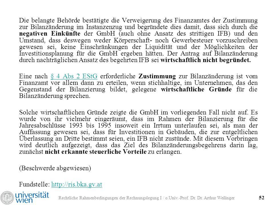 Rechtliche Rahmenbedingungen der Rechnungslegung I / o.Univ.-Prof. Dr. Dr. Arthur Weilinger 52 Die belangte Behörde bestätigte die Verweigerung des Fi