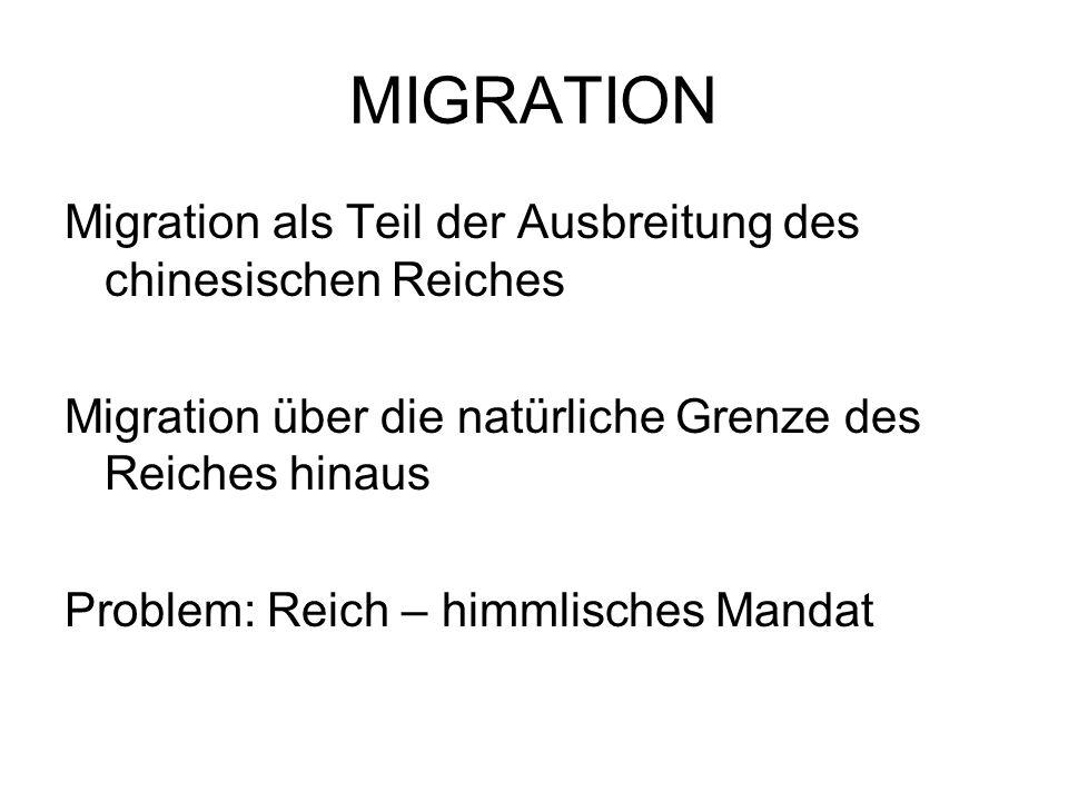 MIGRATION Migration als Teil der Ausbreitung des chinesischen Reiches Migration über die natürliche Grenze des Reiches hinaus Problem: Reich – himmlis