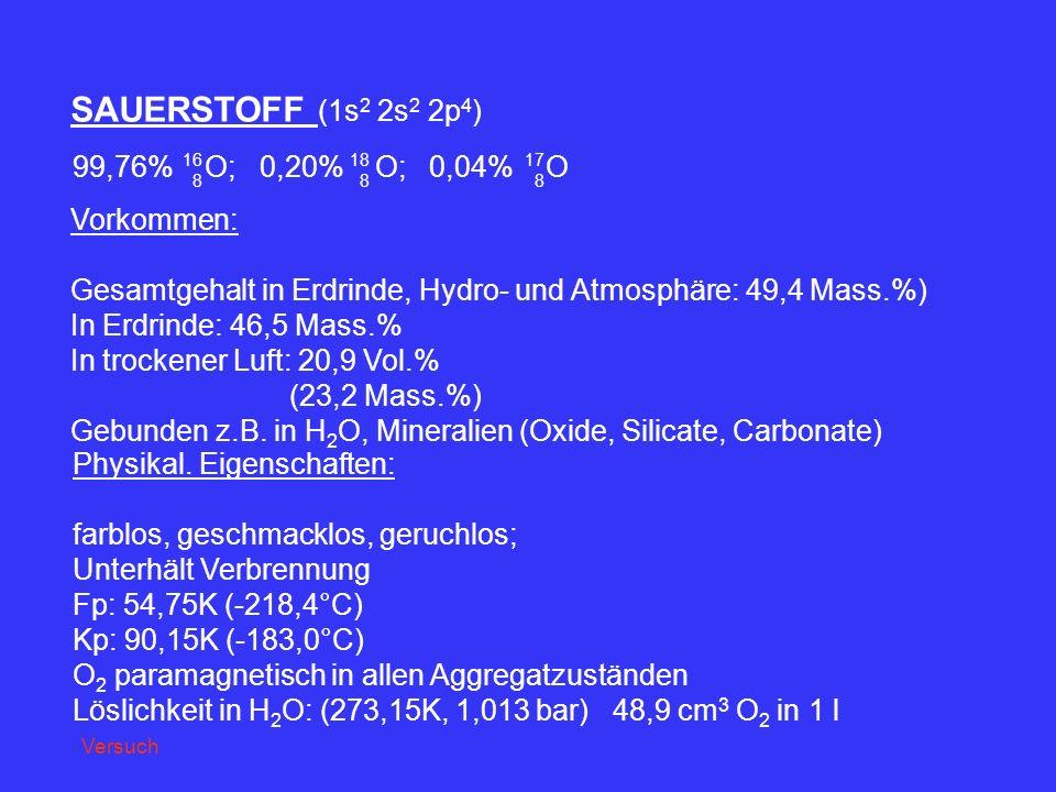 SAUERSTOFF (1s 2 2s 2 2p 4 ) 99,76% O; 0,20% O; 0,04% O 16 8 18 8 17 8 Vorkommen: Gesamtgehalt in Erdrinde, Hydro- und Atmosphäre: 49,4 Mass.%) In Erd