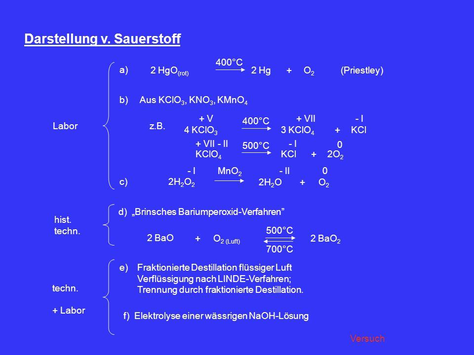 Darstellung v. Sauerstoff a) 2 HgO (rot) 400°C 2 HgO2O2 +(Priestley) b) Aus KClO 3, KNO 3, KMnO 4 z.B. 4 KClO 3 + V 400°C 3 KClO 4 + VII KCl - I + 500
