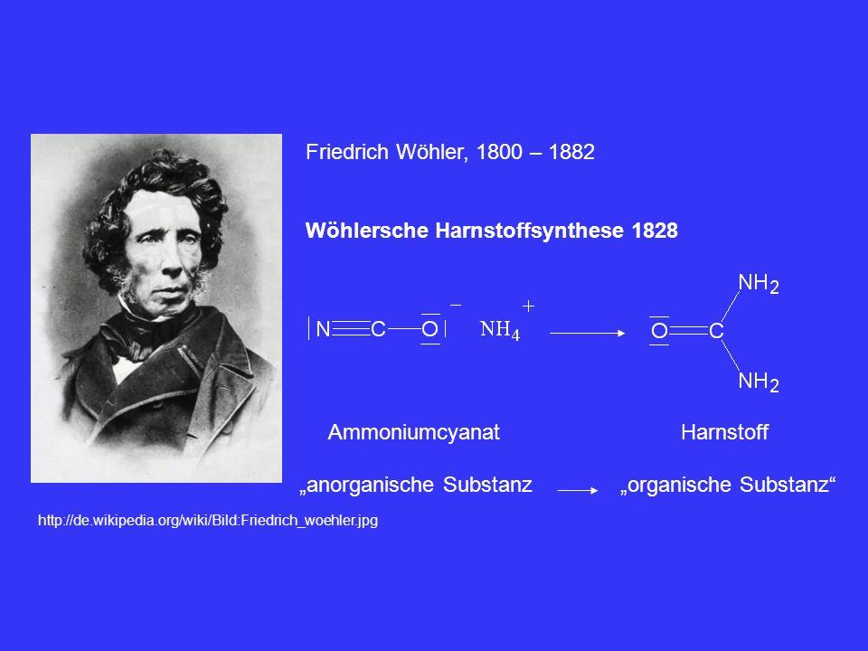 http://de.wikipedia.org/wiki/Bild:Friedrich_woehler.jpg Friedrich Wöhler, 1800 – 1882 Wöhlersche Harnstoffsynthese 1828 Ammoniumcyanat anorganische Su