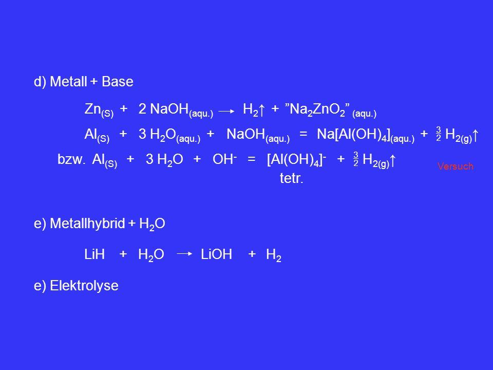H 2(g) Al (S) +3 H 2 O (aqu.) NaOH (aqu.) +=Na[Al(OH) 4 ] (aqu.) + bzw. Al (S) +3 H 2 OOH - +=[Al(OH) 4 ] - H 2(g) + tetr. Zn (S) +2 NaOH (aqu.) H 2 +