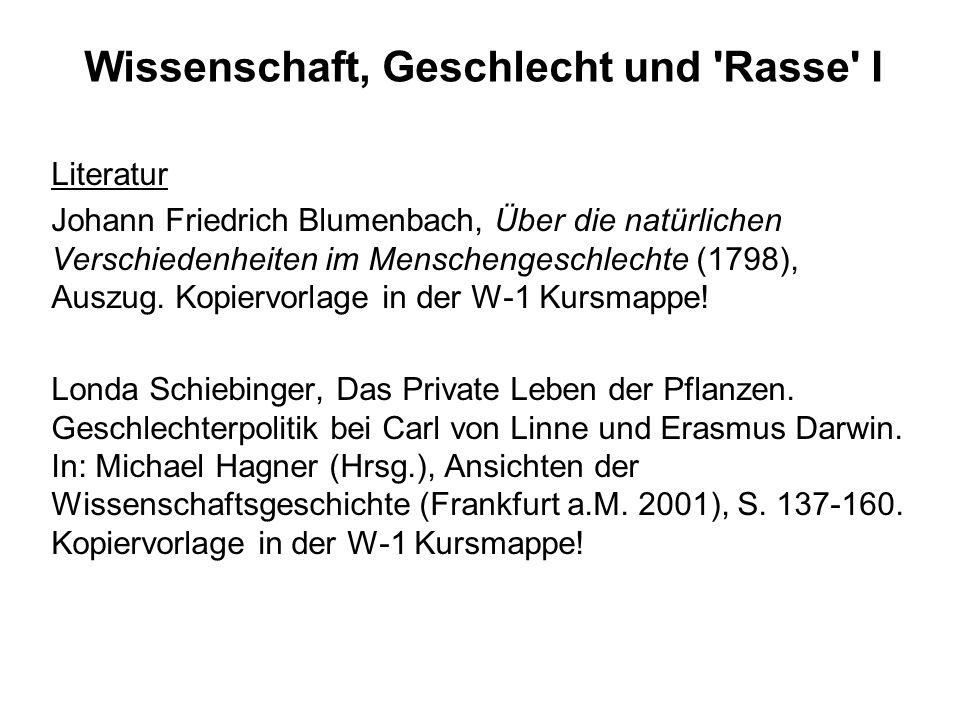 Wissenschaft, Geschlecht und 'Rasse' I Literatur Johann Friedrich Blumenbach, Über die natürlichen Verschiedenheiten im Menschengeschlechte (1798), Au