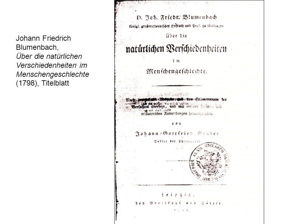Johann Friedrich Blumenbach, Über die natürlichen Verschiedenheiten im Menschengeschlechte (1798), Titelblatt