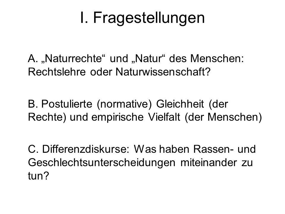 I. Fragestellungen A. Naturrechte und Natur des Menschen: Rechtslehre oder Naturwissenschaft? B. Postulierte (normative) Gleichheit (der Rechte) und e