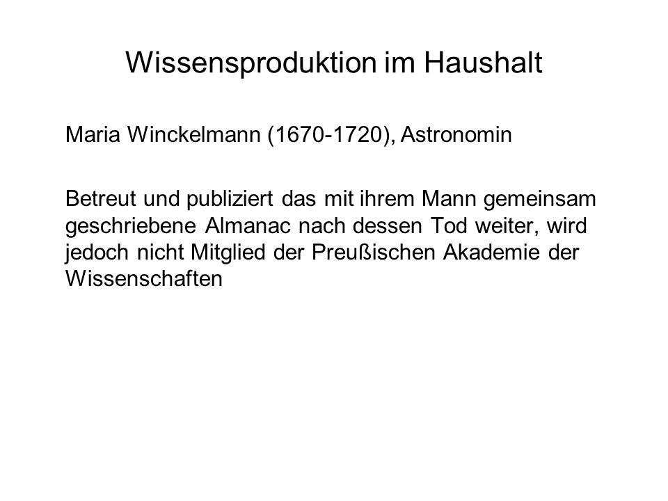 Wissensproduktion im Haushalt Maria Winckelmann (1670-1720), Astronomin Betreut und publiziert das mit ihrem Mann gemeinsam geschriebene Almanac nach