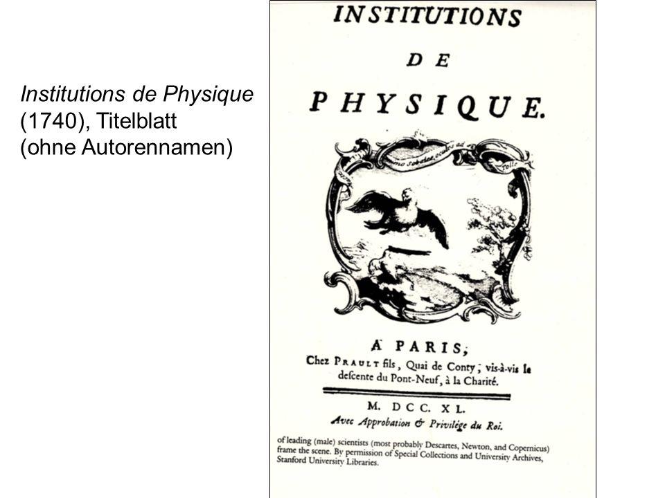 Institutions de Physique (1740), Titelblatt (ohne Autorennamen)