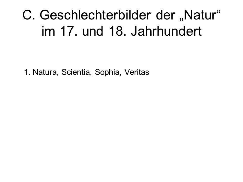 C. Geschlechterbilder der Natur im 17. und 18. Jahrhundert 1. Natura, Scientia, Sophia, Veritas