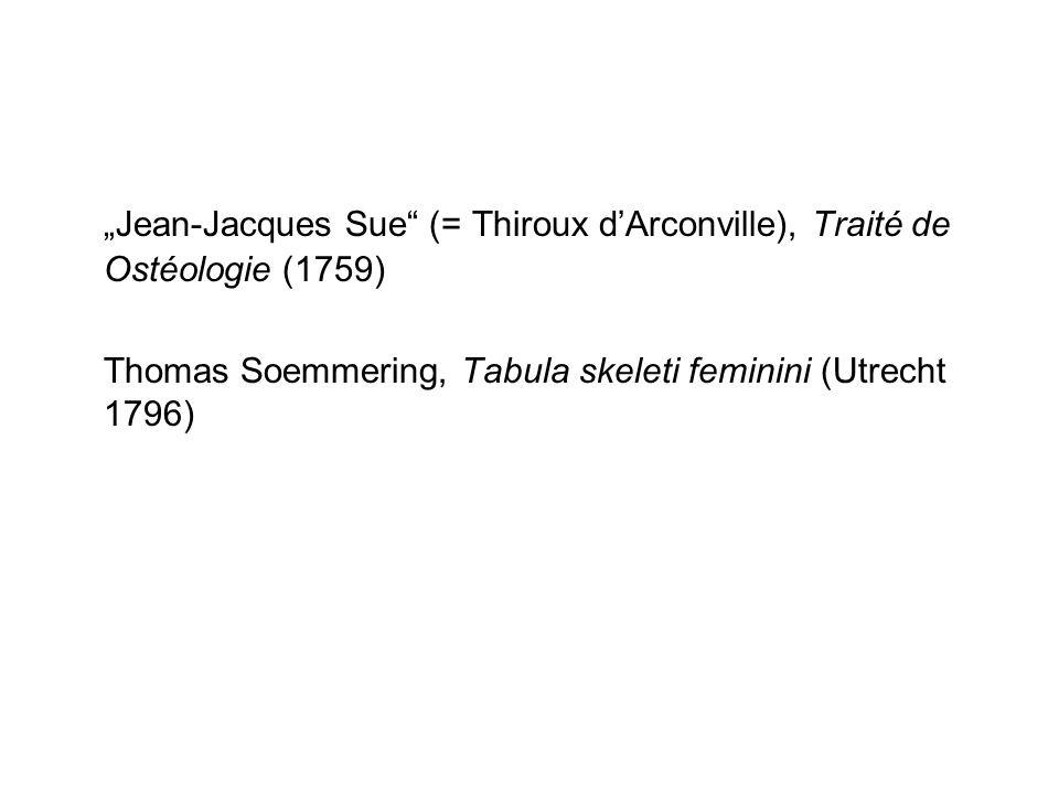 Jean-Jacques Sue (= Thiroux dArconville), Traité de Ostéologie (1759) Thomas Soemmering, Tabula skeleti feminini (Utrecht 1796)