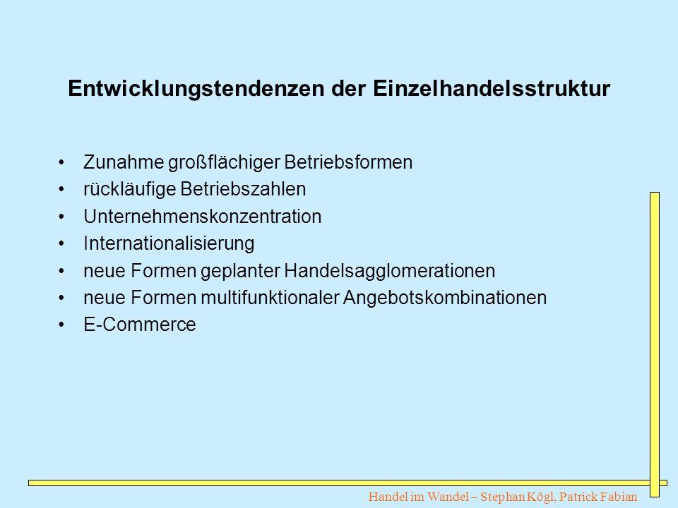 Handel im Wandel – Stephan Kögl, Patrick Fabian Entwicklungstendenzen der Einzelhandelsstruktur Zunahme großflächiger Betriebsformen rückläufige Betri