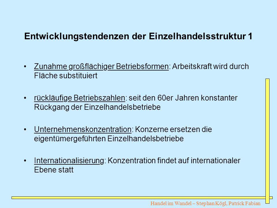 Handel im Wandel – Stephan Kögl, Patrick Fabian Entwicklungstendenzen der Einzelhandelsstruktur 1 Zunahme großflächiger Betriebsformen: Arbeitskraft w