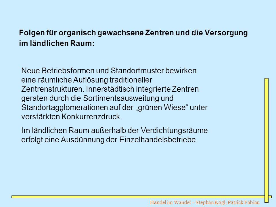 Handel im Wandel – Stephan Kögl, Patrick Fabian Folgen für organisch gewachsene Zentren und die Versorgung im ländlichen Raum: Neue Betriebsformen und