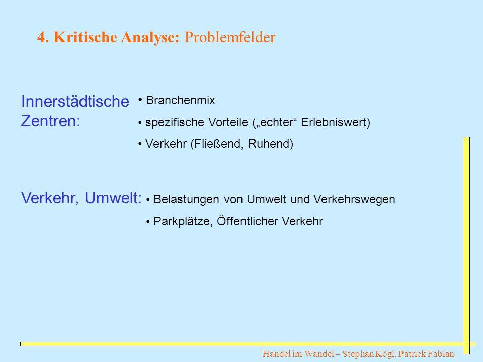 Handel im Wandel – Stephan Kögl, Patrick Fabian 4. Kritische Analyse: Problemfelder Innerstädtische Zentren: Verkehr, Umwelt: Branchenmix spezifische