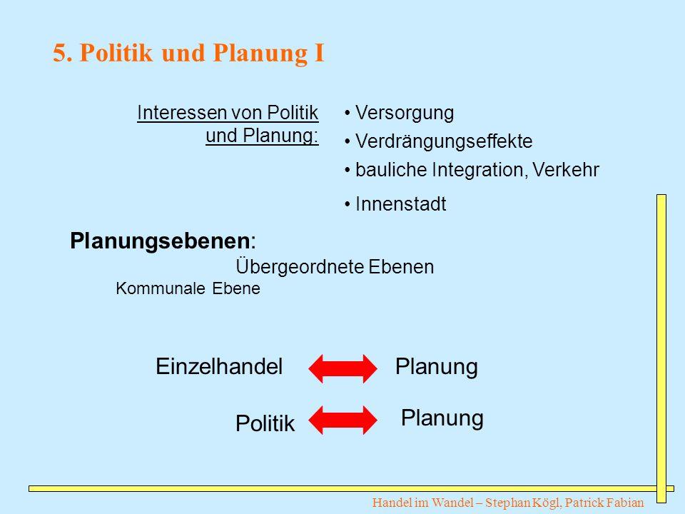 Handel im Wandel – Stephan Kögl, Patrick Fabian 5. Politik und Planung I Interessen von Politik und Planung: Versorgung Verdrängungseffekte bauliche I