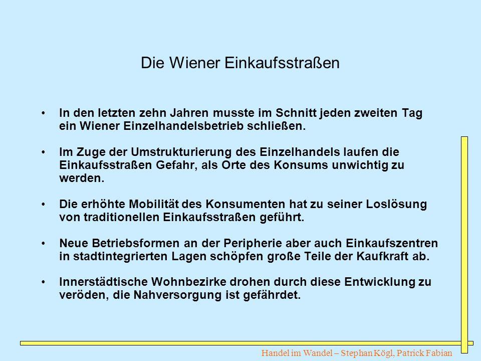 Handel im Wandel – Stephan Kögl, Patrick Fabian Die Wiener Einkaufsstraßen In den letzten zehn Jahren musste im Schnitt jeden zweiten Tag ein Wiener E