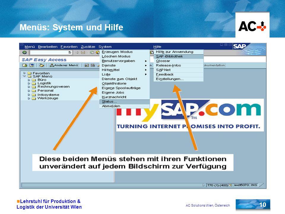 AC Solutions Wien, Österreich 10 Lehrstuhl für Produktion & Logistik der Universität Wien Menüs: System und Hilfe
