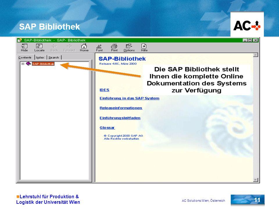 AC Solutions Wien, Österreich 11 Lehrstuhl für Produktion & Logistik der Universität Wien SAP Bibliothek