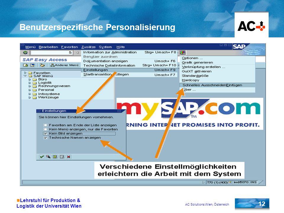 AC Solutions Wien, Österreich 12 Lehrstuhl für Produktion & Logistik der Universität Wien Benutzerspezifische Personalisierung