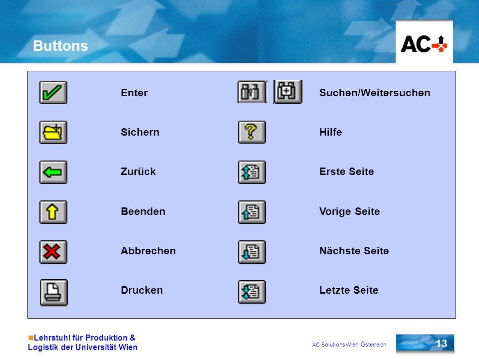 AC Solutions Wien, Österreich 13 Lehrstuhl für Produktion & Logistik der Universität Wien Buttons Enter Sichern Zurück Beenden Abbrechen Drucken Suche